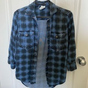 Blue denim flannel